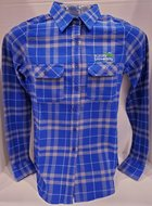 Women's Stance Long Sleeve Flannel button down shirt AU Leaf logo above left front pocket